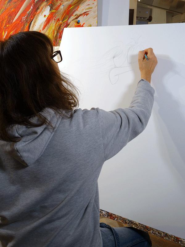 Cours de peinture au couteau par l'artiste Sylvie Adaoust