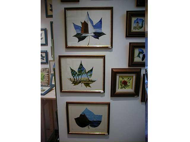 Les peintures sur feuilles naturelles sur le thème des marines de Sylvie Adaoust en décembre 2001