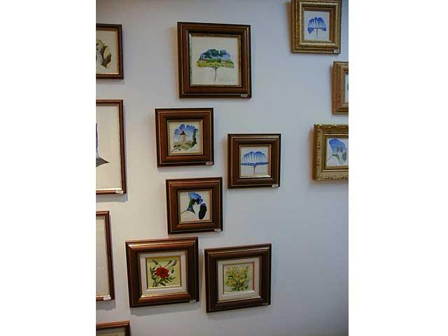 Les peintures sur feuilles naturelles de Sylvie Adaoust en décembre 2001 à Sanary-sur-mer dans le var en France exposées dans sa première galerie d'art