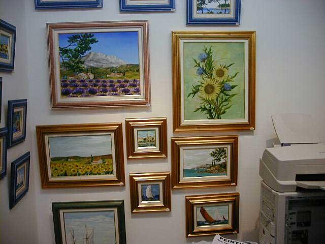 Les premiers tableaux exposés de Sylvie Adaoust en décembre 2001 à Sanary-sur-mer dans le var en France
