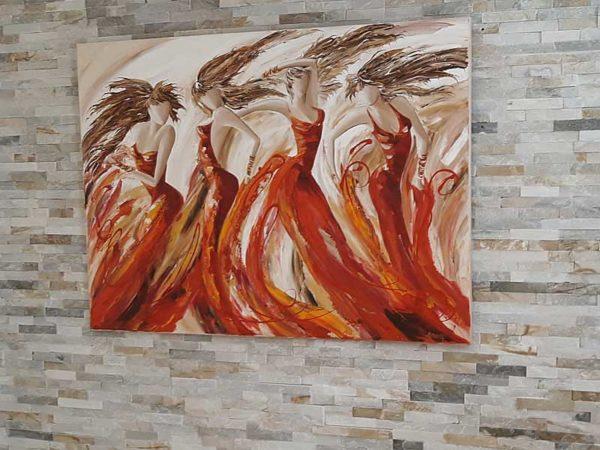 Grand tableau au couteau de ballet de danseuses - 2