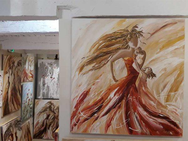 mère et enfant, tableau Adaoust 90x90cm 2